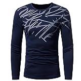 UJUNAOR Männer Herbst Winter Top Mode Gedruckt Herren Langarm T-Shirt Bluse(L,Marine)