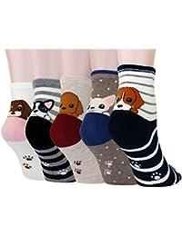 LITTONE® 5 Pares Calcetines De Algodón Perro Cachorro Dibujos Animados Calcetines Para Mujer