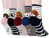 LITTONE® 5 Pares Calcetines De Algodón Perro Cachorro Dibujos Animados Calcetines Para Mujer (LTNBABSOCK-0063)