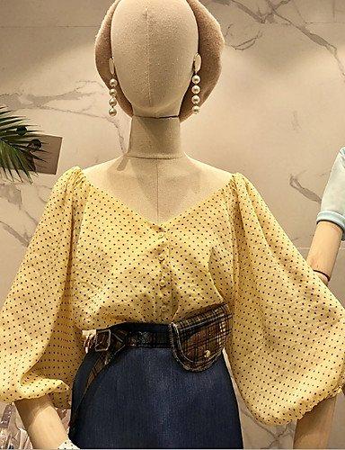 YFLTZ Blusa Vintage para Mujer - Lunares, Amarillo, Talla única