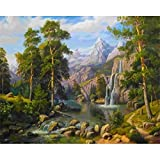 zhxx Malen Nach Zahlen Erwachsene Bergwald Wasserfall Landschaft DIY Digitale Wandkunst Leinwand Malerei Geschenk Wohnkultur,Rahmenlos 16X20 Zoll