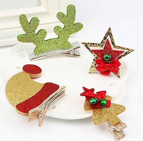 cuhair (TM) 4pcs Noël mignon cadeau fille accessoires barettes de pince à cheveux broches accessoires pour cheveux pince à cheveux