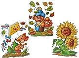 Unbekannt 3 Stück: XL Fensterbilder Herbst - Teddy / Sonnenblume / Maus mit Drachen - Sticker Fenstersticker Aufkleber selbstklebend & statisch haftend wiederverwendbar