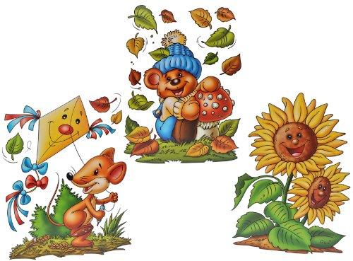Unbekannt 3 Stück: XL Fensterbilder Herbst - Teddy / Sonnenblume / Maus mit Drachen - Sticker Fenstersticker Aufkleber selbstklebend & statisch haftend wiederverwendbar -