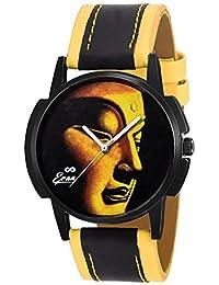 Eraa Black & Yellow Buddha Analog Wrist Watch For Men