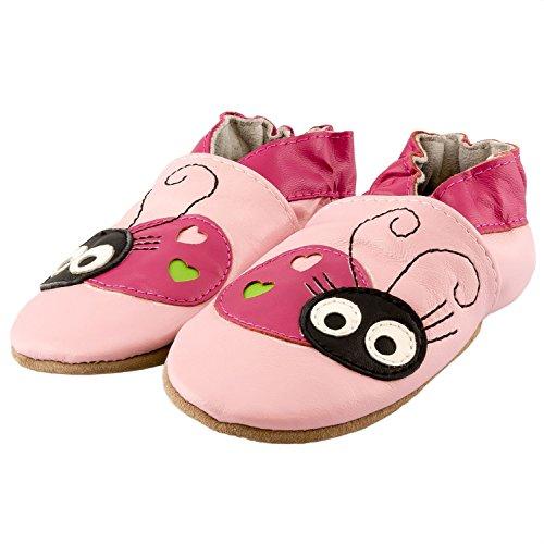 SmileBaby chaussures premiers pas chaussons pour bébé bleu camion de pompiers 18 - 24 mois Rose coccinelle