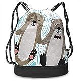 Rtytgfdw Multi-Functional Unisex Vector Otters In Love Casual Print Crossbody Bag