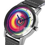 Armbanduhr Herren Einzigartig Regenbogen Mehrfarbig Kreis Zifferblatt Diamantform Vorderseite Glas SIBOSUN Schwarz Leder