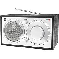 Dual - Radio NR 2 (radio AM/FM, alloggiamento in legno, spia LED, attacco cuffie, altoparlante), design nostalgico, colore: Nero