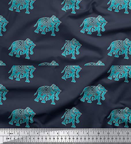 Elefanten Blau - ein tolles Stoffmotiv - online auf Stoff123.de