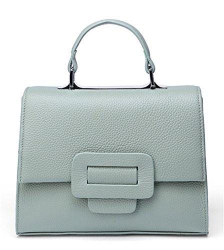 Xinmaoyuan Borse donna Lady quadrato piccolo sacchetto veramente vacchetta spalla borsa messenger,Nero Blu chiaro