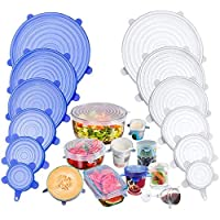 TECHVIDA Stretch Silicone Covers, 12 Packs of Different Sizes Silicone Cover for Foods, Reusable and Expandable Covers for Cookware and Freezer Cups (Assorted colors)