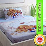 Divine Casa 100% Cotton 200 TC Geometric Single Bedsheet with Pillow Cover, Blue