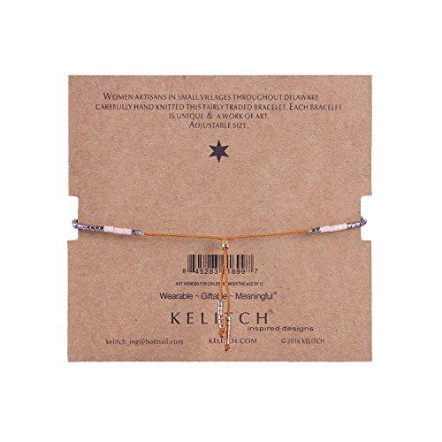 KELITCH Bohemian Armband Rocailles Perlen Handmade Mehrfarbig Zart Schnur Freundschaftsarmbänder - Gold - Braun