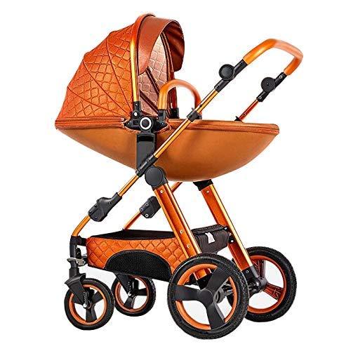 MAGO Hohe Landschaft Eierschale Kinderwagen 3 in 1 können sitzen und liegen Two-Way-Kleinkind-Kinderwagen mit Bassinet Combo for Babys Prams 0-3 Jahre alt (Color : D)