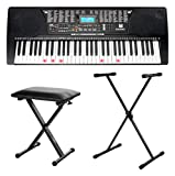 McGrey LK-6150 61 Tasten Keyboard Set (Einsteiger-Keyboard mit 61 Leuchttasten, 255 Sounds und 255 Rhythmen, integrierter MP3-Player, inkl. Ständer und Hocker) Schwarz