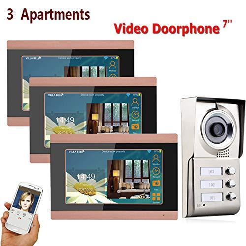 ZY 7inch Registro inalámbrico WiFi 3 Apartamentos Video Portero telefónico Sistema IR-Cut...