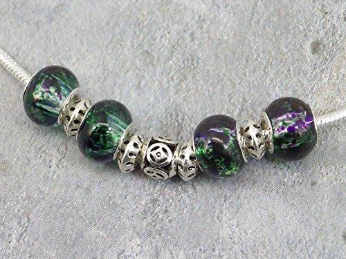 Halskette für Frauen in europäischen Perlen mit grünen Tönen