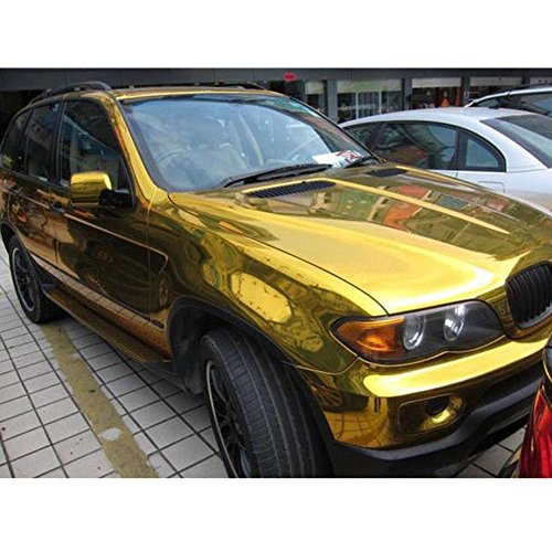 HOHO chrom gold Spiegel Vinyl Film Wrap Aufkleber Aufkleber dehnbar Reflektierende Bubble frei 152,4x 50,8cm