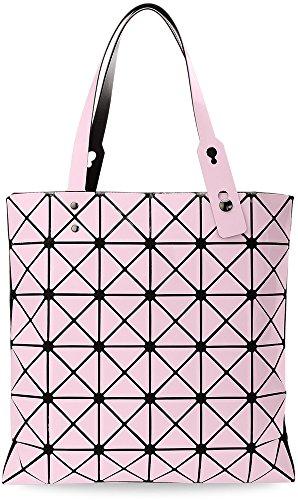Damentasche Shopperbag 3D dreidimensional Henkeltasche geometrische Muster MUST HAVE (weiß) puderrosa