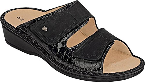Finn Comfort Womens 2519 Jamaica Frog Buggy Leather Sandals Nero
