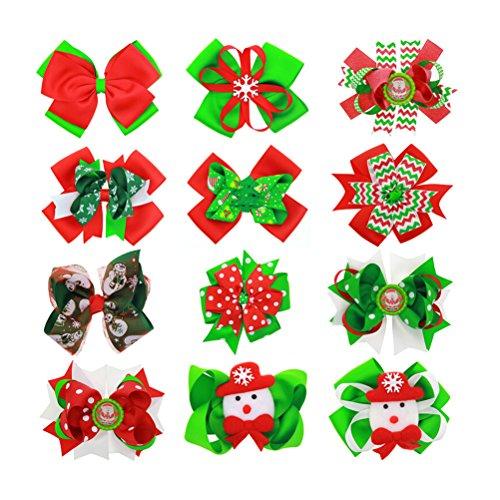 OULII 12pcs Pinzas de pelo de navidad Arcos de pelo bowknot para bebés niña Regalo de Navidad