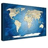 LANA KK Weltkarte Leinwandbild mit Korkrückwand zum pinnen der Reiseziele deutsch Kunstdruck, blaues Meer, 60 x 40 cm