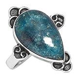 Solido 925 Sterling Argento Anello Naturale Al neon Blu Apatite Pietra preziosa Da collezione Gioielli Dimensioni 20.25