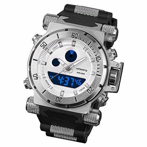 INFANTRY Herren Analog-Digital Armbanduhr Glanz Datum Alarm Beleuchtung Edelstahl Fliegeruh Sportuhr Outdoor Gummi Armband