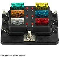 KKmoon Caja de Fusibles 6 Vías Portafusibles con Lámpara de Alerta LED Kit para Coche Barco Marino Triciclo 12V 24V