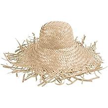 Cappello di paglia bianco (SH-21), paglietta in stile hawaii unisex in paglia accessorio carnevale travestimento festa tempo libero beach spiaggia mare protezione