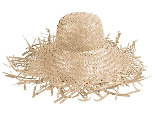 Cappello di paglia, paglietta in stile hawaii unisex in paglia accessorio carnevale travestimento festa tempo libero beach spiaggia mare protezione sole, SH-20-31:SH-21 bianco