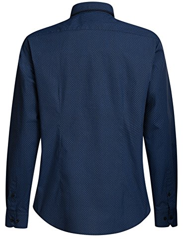 oodji Ultra Herren Druckhemd mit Doppeltem Kragen Blau (7975G)