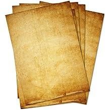 Papel de carta Vintage Retro Juego de 50hojas DIN A4en ambos lados Diseño Papel Viejo Antiguo. Ideal para certificados, invitaciones, boda, decoración, Navidad, tarjeta del tesoro
