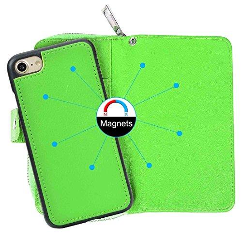 iPhone Case Cover Pour iPhone 7 Séparable Litchi Texture Zipper Boîtier en cuir horizontal Flip avec des fentes pour cartes et porte-monnaie et cadre photo & Lanyard ( Color : Blue ) Green
