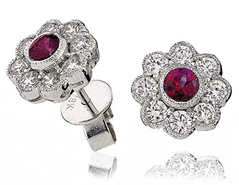 1.15CT Certified G/VS2 Ruby Centre Flower Shape Diamond Stud Earrings in 18K White Gold