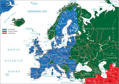 Land Mittel-wandhalterung (Posterlounge Holzbild 160 x 120 cm: EU- und Nicht-EU-Länder - Übersichtskarte von Editors Choice)