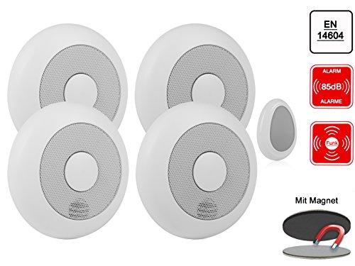 4er-Set vernetzbare Rauchmelder + Fernbedienung + Magnethalter, verlinkbar, erweiterbar /...