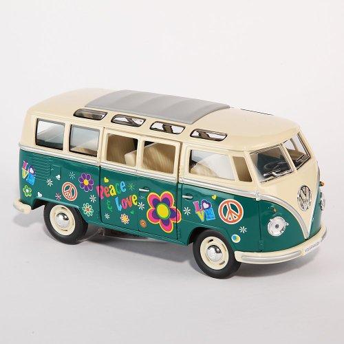 Kinsmart Modellauto Auto Volkswagen 1962 VW Bus Flower Power Print 1:24 Grün