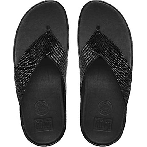 Fitflop ? Crystall Womens Fuß Post Sandalen Nero