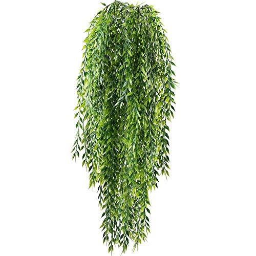 HUAESIN 2pcs Kunstpflanze Hängend Hängepflanzen Künstlich Plastikpflanzen Grünpflanze Unechte Efeu Künstliche Pflaznen für Draussen Balkon Topf Wand Hochzeit Party Garten Deko