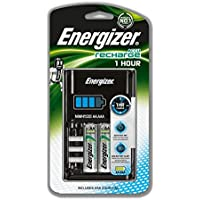 Energizer 1 Hour Battery Charger, Charges AA and AAA Batteries, (4 AA Rechargeable Batteries Included)