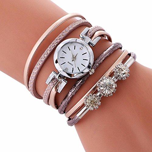 LSAltd Damen Art und Weisediamant-Verpackung um Uhr Lederoid Quarz Armbanduhr (Rose Gold 1)