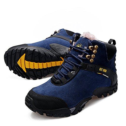 Bottes de randonnée Homme Chaussures de randonnée Trekking Homme Bottines de sport en daim à cheville en daim par GOMNEAR Bleu