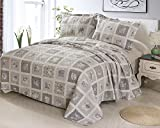 """100% Cotton Printed Quilt Sets (QUEEN) -with 2 cases Re-washing Bedspread Coverlet (Queen:80""""x90"""", Beige)"""
