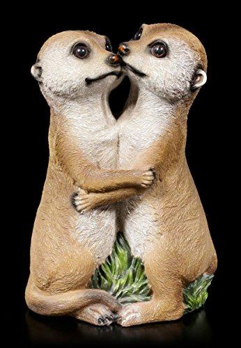 Verliebtes Erdmännchen Paar Garten Figur | Deko Statue Familie Tiere