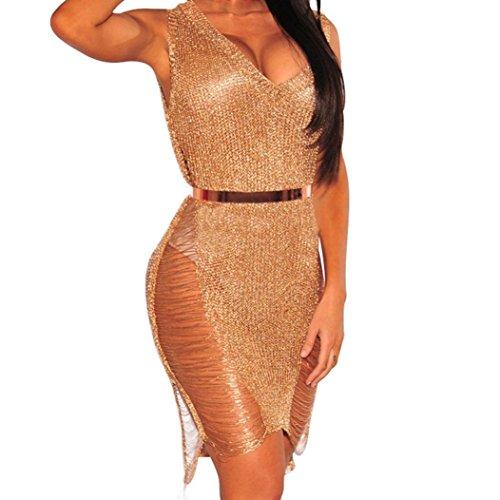 Quaan Frauen V-Ausschnitt Sleeveless Sexy Nachtclub Aushöhlen Strandkleid Werden Immer Eine Lösung für Sie bereitstellen Ashlyn Mock Neck Top mit Spitzenbesatz für Frauen (XL, Roségold)