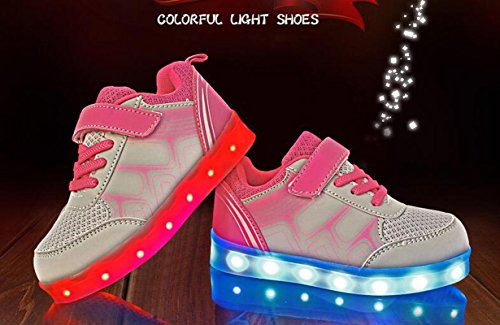 Firstmall-Chaussures 7 Couleur Unisexe garçons et filles enfants USB Charge LED Chaussures de Sports Baskets Gris