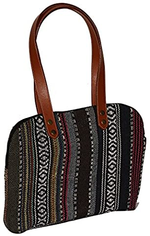 SouvNear Women Shoulder Handbag Purse 33 Centimeter in Canvas Material with Leather Twin Handles - Perfect for Regular and Travel Use