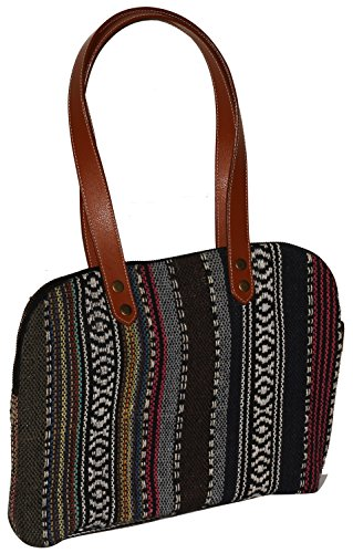 souvnear-women-shoulder-handbag-purse-33-centimeter-in-canvas-material-with-leather-twin-handles-per